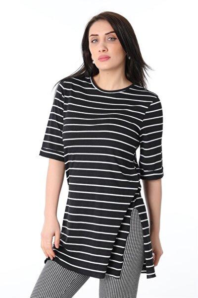 Yırtmaçlı Çizgili Tshirt - Siyah