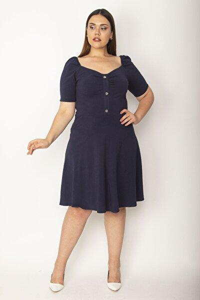 Kadın Lacivert Pamuklu Kumaş Göğsü Büzgü Detaylı Kısa Kol Elbise 65N26948