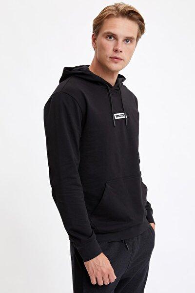 Erkek Siyah Slim Fit Kanguru Cepli Slogan Desenli Uzun Kollu Sweatshirt R0966AZ20AUBK