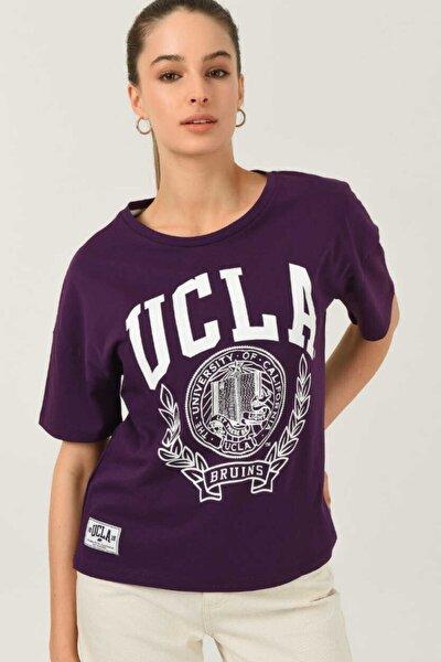 Avalon Mor Oversize Bisiklet Yaka Baskılı Kadın T-shirt