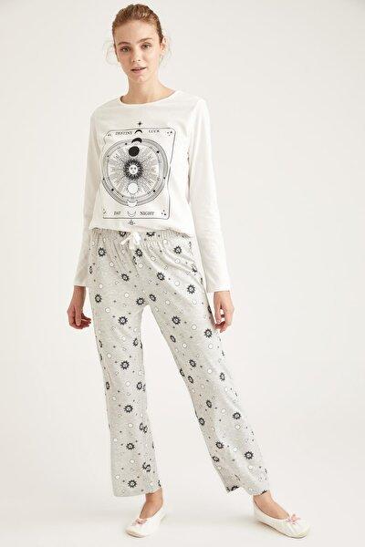 Kadın Gri Luna Moon Baskılı Uzun Kollu Pijama Takımı T1324AZ20WNGR