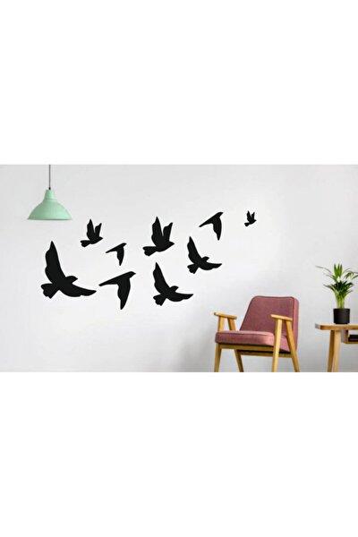 Ahşap Dekoratif Kuş 9 Adet Set
