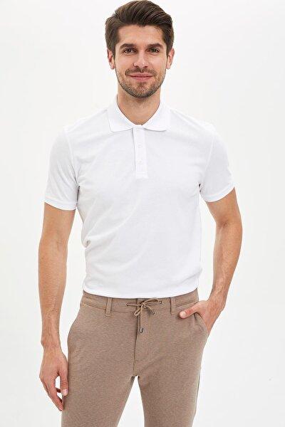 Regular Fit Polo Yaka Basic Kısa Kollu Beyaz Tişört