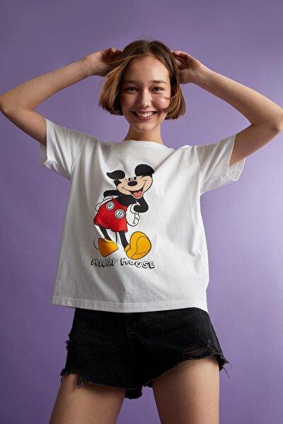 Mickey Mouse Lisanslı Oversize Fit Kısa Kollu Tişört