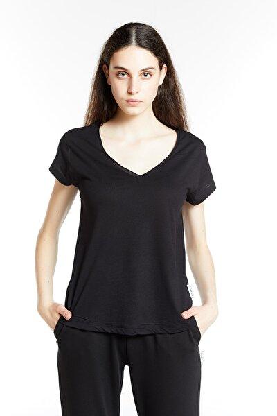 Siyah V Yaka Flamlı Pamuk Örme Tshirt