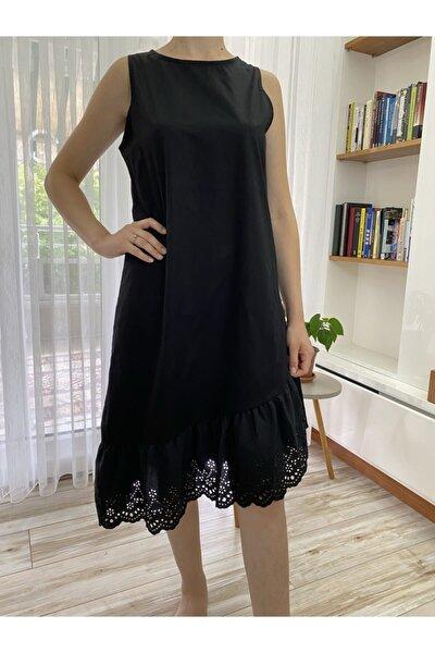 Kadın Elbise Siyah Eteği Güpürlü Kadın Elbise S-m-l