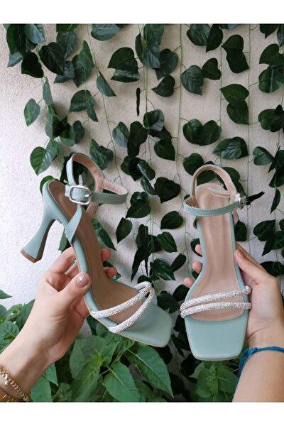 Kadın Yeni Sezon Mint Yeşili Taş Detaylı Tek Bant Topuklu Ayakkabı