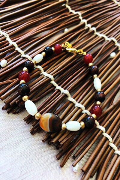Dr Stone Doğaltaş el yapımı  afrika koleksiyonu Kadın akik ve sedef taşı Bileklik YAHL7