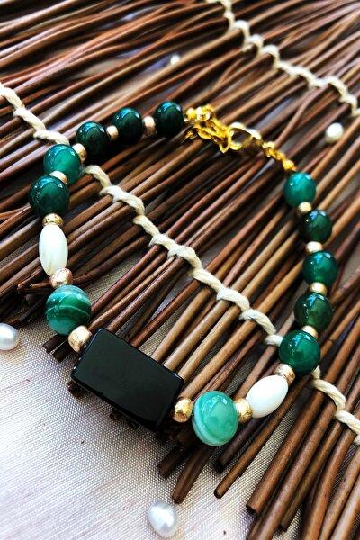 Dr Stone Doğaltaş el yapımı  afrika koleksiyonu Kadın oniks ve akik taşı Bileklik YAHL22