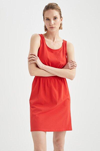 Askılı Basic Beli Büzgülü Relax Fit Miniyazlık Elbise