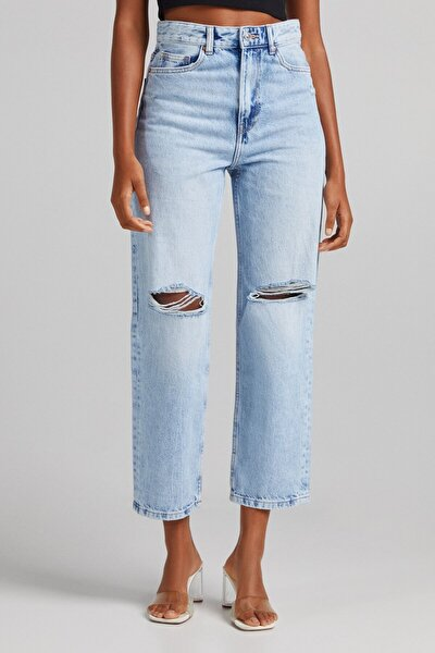 Distressed Crop Straight Fit Jean