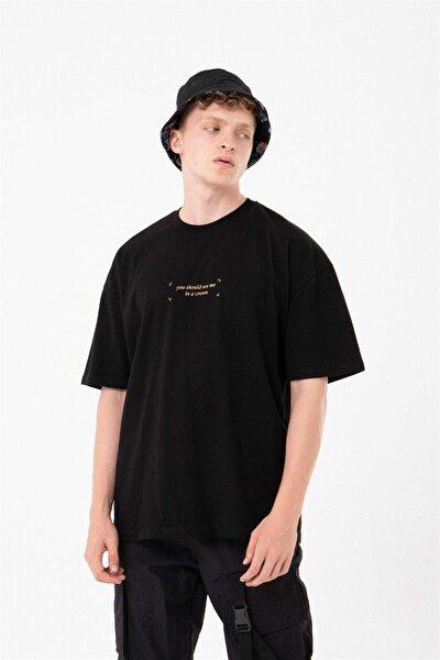 Crown Oversize Siyah T-shirt