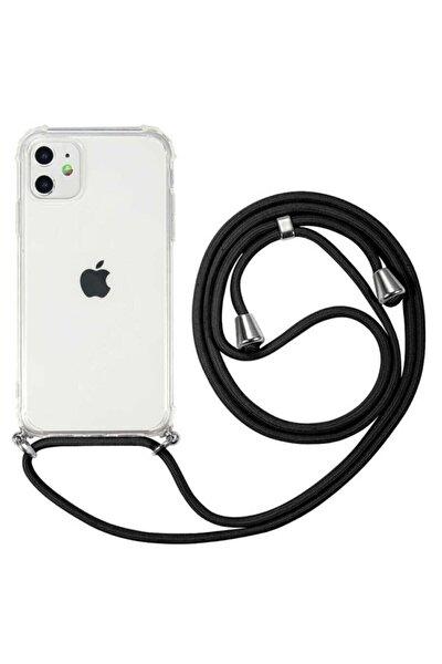 Iphone 11 6.1 Inç Uyumlu Boyundan Askılı Şeffaf Darbe Emici Silikon Telefon Kılıfı Siyah Ipli