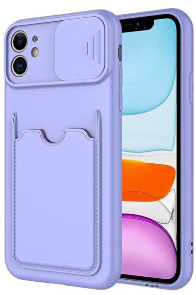 Iphone 11 Uyumlu   Kılıf Kartlıklı Sürgülü Kamera Korumalı Silikon Lila ve Kablo Koruyucu