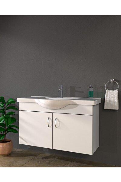 Ld2 Ayaksız 2 Kapaklı Lavabolu Beyaz Mdf 100 Cm Banyo Dolabı