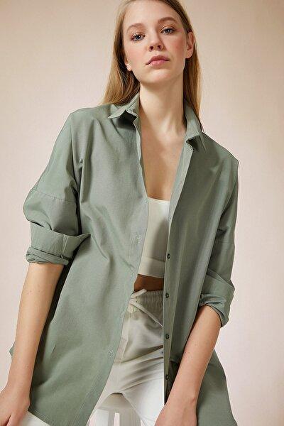 Kadın Haki Oversize Uzun Basic Gömlek DD00842