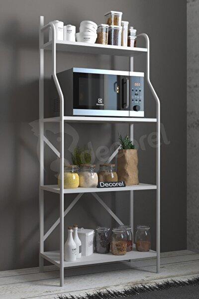 Metal Mutfak Banyo Rafı 4 Raflı Mutfak Düzenleyici Raf Mikrodalga Fırın Rafı Kitaplık Beyaz