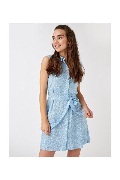Kadın Mavi Desenli Elbise 1YAK88374PW