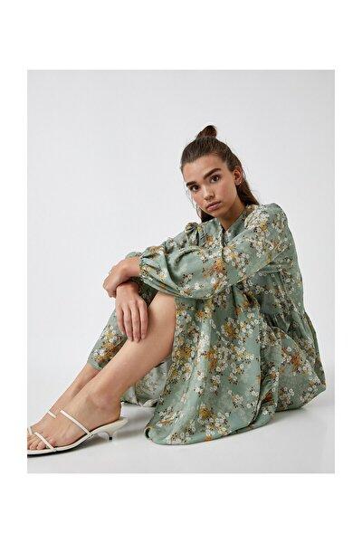 Kadın Yeşil Desenli Elbise 2KAK88069CW