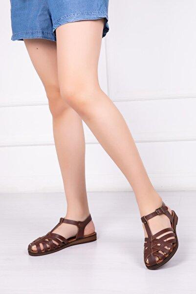 Hakiki Deri Kahverengi Kadın Deri Sandalet Dp-0067