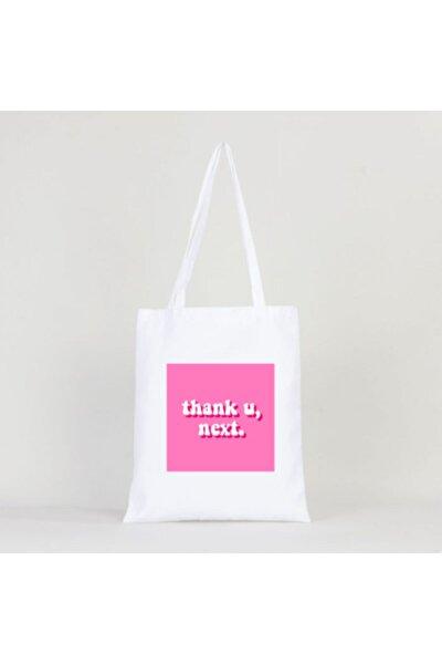 Thank U Next Ariana Grande Baskılı Beyaz Bez Çanta 35 x 40 cm