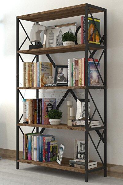 Dekoratif 5 Raflı Kitaplık Geniş Metal Kitaplık Dosya Kitap Rafı Ofis Salon Raf 90x180cm Siyah Ceviz