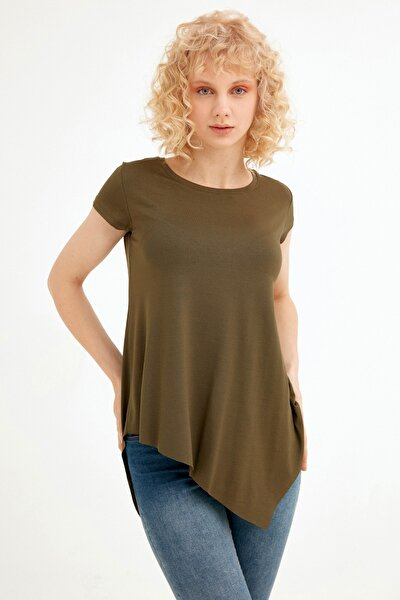 Kadın Haki Asimetrik Kesim Tshirt