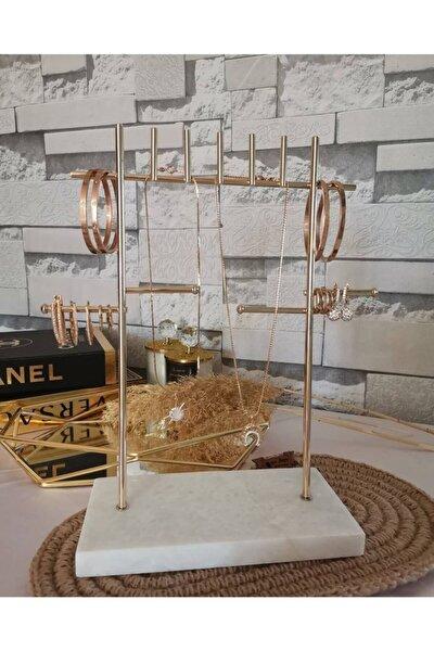 Gerçek Mermer Tabanlı Takı Askılığı, Gold Renk Şık, Dekoratif Ve Kullanışlı