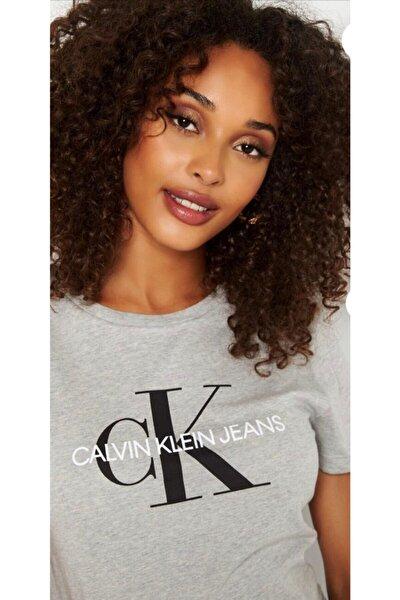 Kadın Gri Women's Big Logo Printed On Chest T-shirt