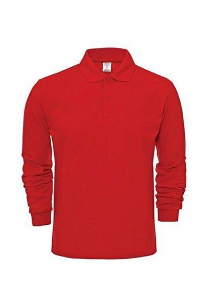 Unısex Polo Yaka Uzun Kol Kırmızı T-shırt