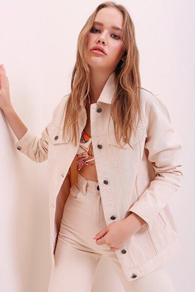 Kadın Bej Oversize Denim Ceket ALC-X6862
