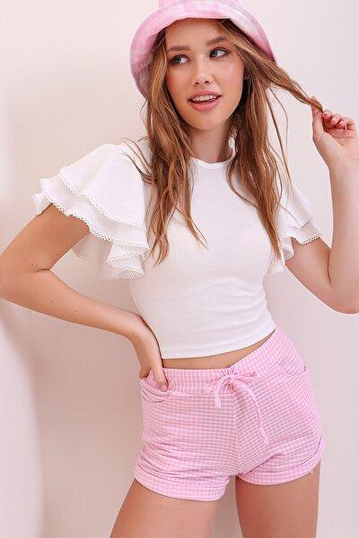 Kadın Beyaz Kolları Kat Kat Volanlı Nervür Detaylı İnce Fitilli Crop Pamuk Bluz ALC-X6836