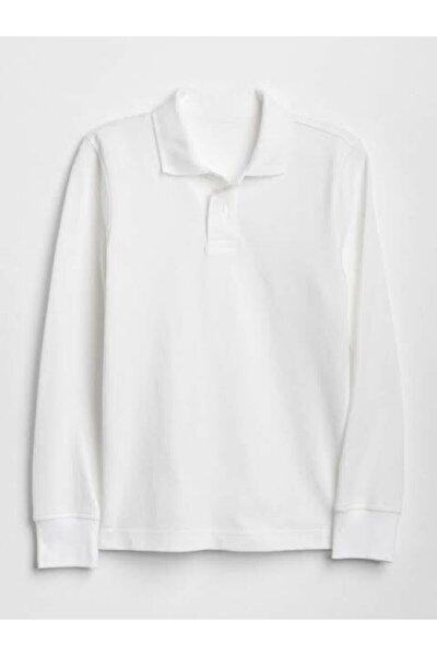 Unısex Polo Yaka Uzun Kol Beyaz T-shırt