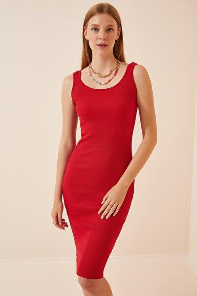 Kadın Kırmızı Askılı Fitilli Örme Elbise  Lİ00063