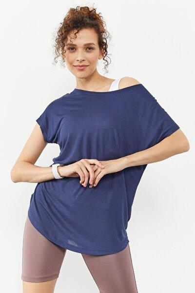 Tommylife Indigo Kadın Basic Kısa Kol Rahat Form O Yaka T-shirt - 97151