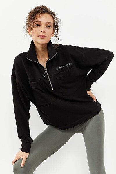 Tommylife Siyah Kadın Göğüs Cepli Yarım Fermuar Oversize Sweatshirt - 97154