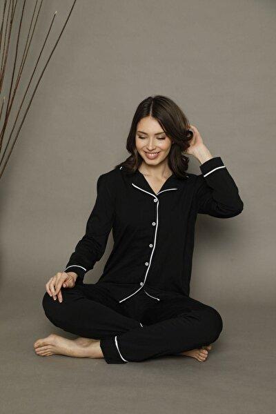 Siyah-beyaz Pamuklu Likralı Düğmeli Biyeli Pijama Takım