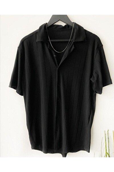 Erkek Siyah Desenli Pamuklu Yazlık Kısa Kollu Gömlek