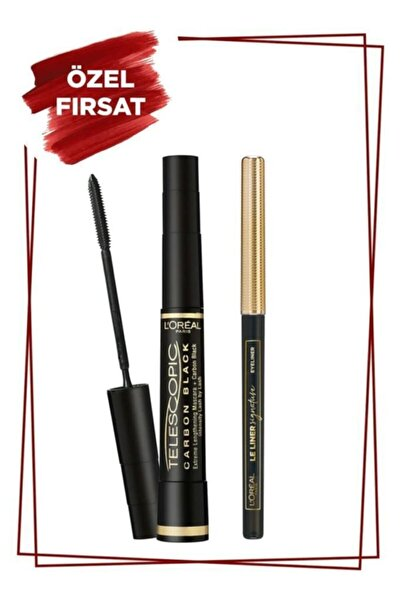 L'oréal Paris Telescopic Carbon Extra Black Maskara - Siyah & L'oréal Paris Le Liner Signature Göz K