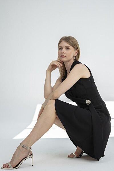 Elbise-şal Yaka, Etek Altı Kloş Detaylı, Kolsuz