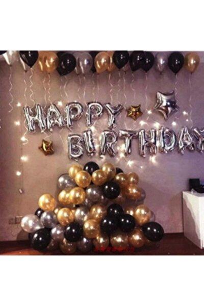 Happy Birthday Doğum Günü Balonu Kombini Gümüş Gold