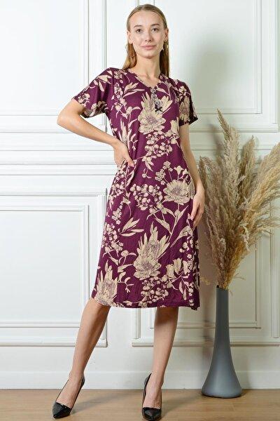 Pınkmark Kadın Çiçek Desenli Mürdüm Düğme Detaylı Büyük Beden Elbise Pmel25311