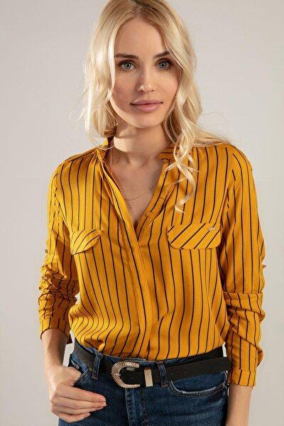 Kadın Hakim Yaka Çizgili Gömlek Y20s110-3455