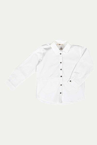 Kız Çocuk Taş Düğmeli Cepli Garson Gömlek 7-14 Yaş C19w-ck3917