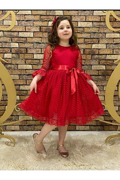 Dantelli Kız Çocuk Elbisesi Kırmızı