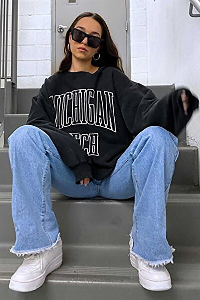 Kadın Siyah Michigan Tech Yazılı Baskılı Oversize Sweatshirt