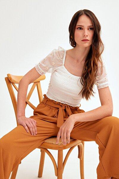 Kadın Hardal Beli Lastikli Kuşaklı Bol Kesim Ayrobin Pantolon