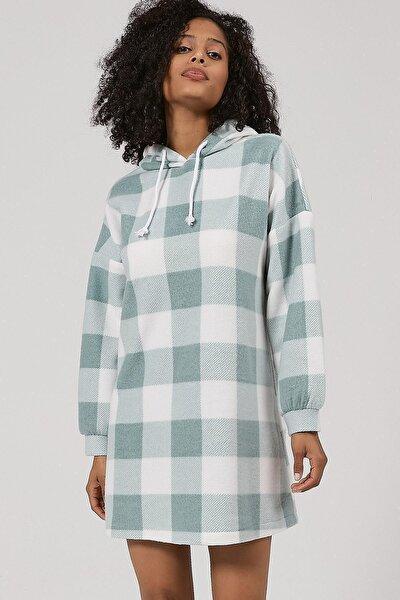Kadın Ekoseli Polar Sweatshirt Elbise Y20w110-4085