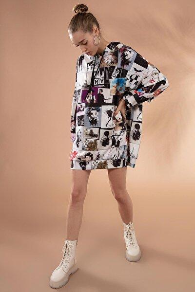 Kadın Baskılı Oversize Sweatshirt Elbise P20w-4129