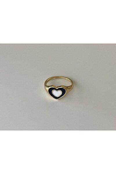 Siyah Beyaz Hipnotik Kalp Gold Yüzük